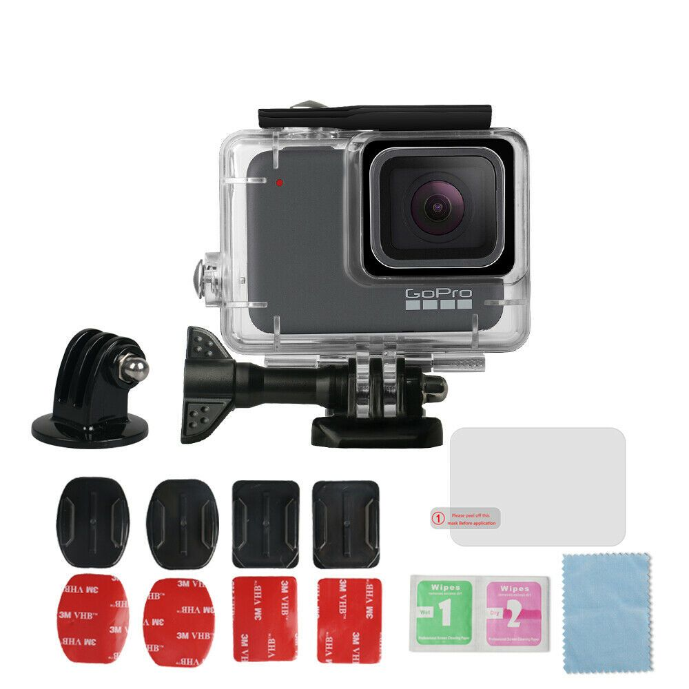 GoPro Hero7 White/Silver Waterproof Protective Housing Shell 45m + Mount Kit